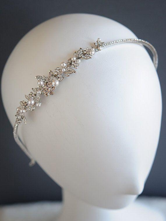 Vintage Style Wedding Headband, Crystal Flower Leaf Vine Headband, Swarovski Pearl Bridal Hairband, Victorian Bridal Hair Jewelry, TIMOTHEA