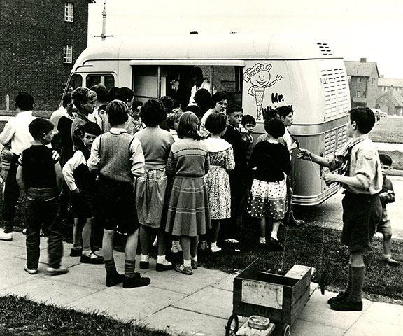 Children waiting at an ice-cream van in 1960s England (Photograph: Gelato Museum Carpigiani Archive): 1960S England, England Photographers, 1920S 30S 40S 50S 60S 70S, Ice Cream Trucks, Museums Italy, Archives Photo, Museums Carpigiani, Gelato Museums, Ice Cream Vans