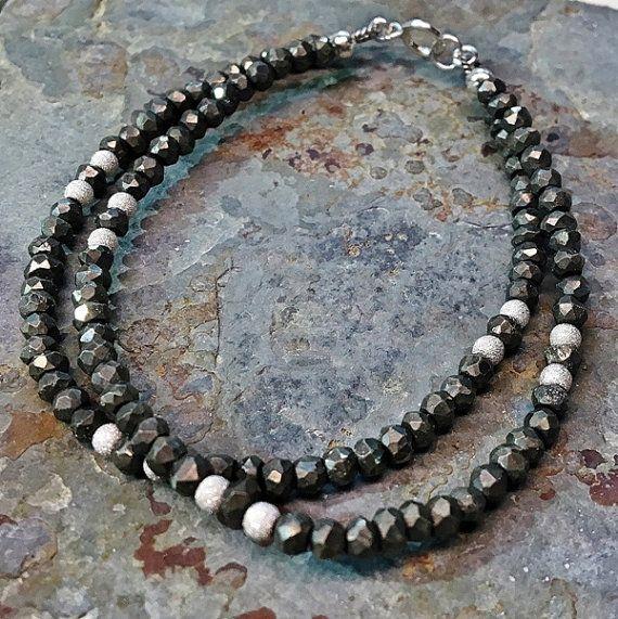 Double strand black pyrite bracelet. 925 sterling by Emmalishop