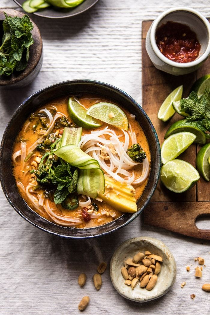 20 Minute Peanut Noodle Soup with Lime Mango: perfect cold nights...make a quick dinner, grab your food, and huddle by the fire! @halfbakedharvest.com