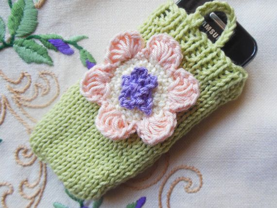 Mobile Phone Cover. Phone case. Crochet flower.Knitted Phone case.Phone sock. 100% cotton. Green / Peach / Violet. Floral.