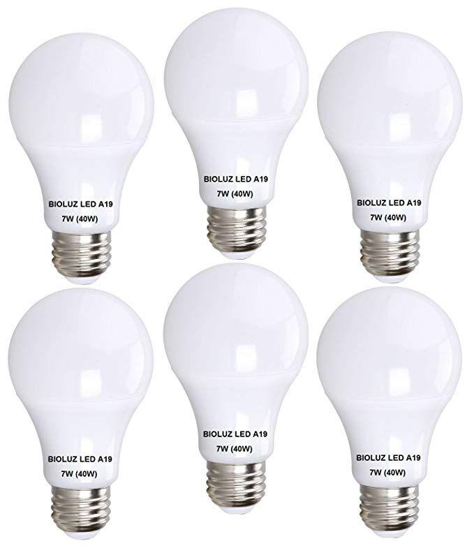 Bioluz Led 40 Watt Led Light Bulb Uses 7 Watts A19 Led Light Bulbs See Series Warm White 2700k Light Bulb 6 Pack Light Bulb Led Light Bulb Led Light Bulbs