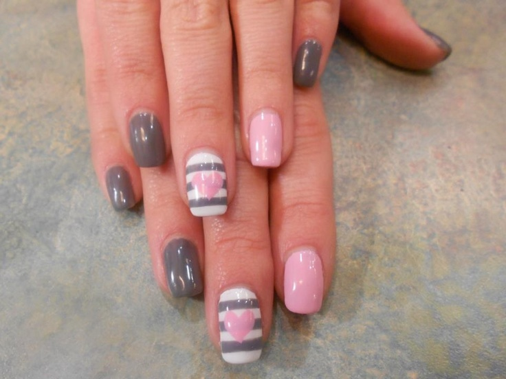 Shellac Nail Design Ideas chevron shellac nails nail art nail design by natalie Grey And White With Heart Design How To Do Shellac Nails