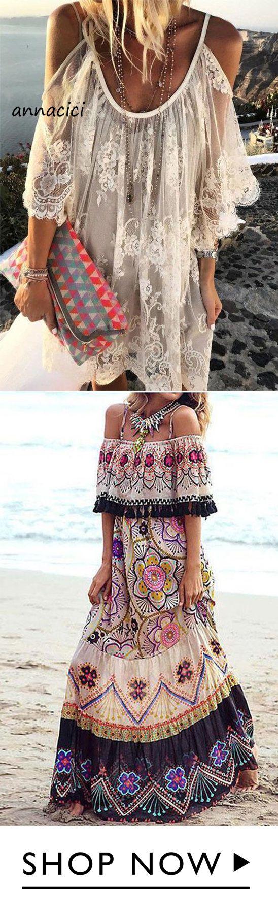 bohemian style Off Shoulder Women Summer Dresses