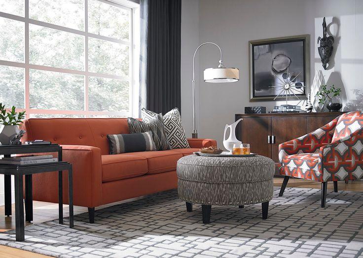Orange Couch Grey Walls Burnt Orange Living Room Orange
