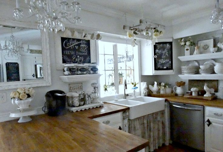 Junk chic cottage new chalkboard new coffee bar for Small cozy kitchen ideas