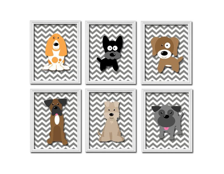 Dogs Puppy Puppies Theme Grey Chevron Pattern Artwork Set of 6 Prints Wall Decor Art Bedroom Picture Child Nursery. $55.00, via Etsy.