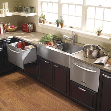 These 'Dishwasher Drawers' would make for quick cleanup after gathering with friends. I also like the idea that you can use clean dishes from one while filling the other with dirty dishes.  I like anything that makes my life easier.  :0)