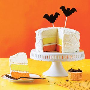 How to Make a Mummified Candy Corn Cake | MyRecipes  This festive candy corn-colored cake is sure to impress your Halloween guests. Learn how to make it!