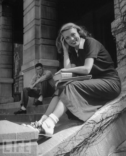 saddle oxford shoes... bobbie socks... and skirts mid-calf. This is what mom wore when she was in high school. Grad in 1950