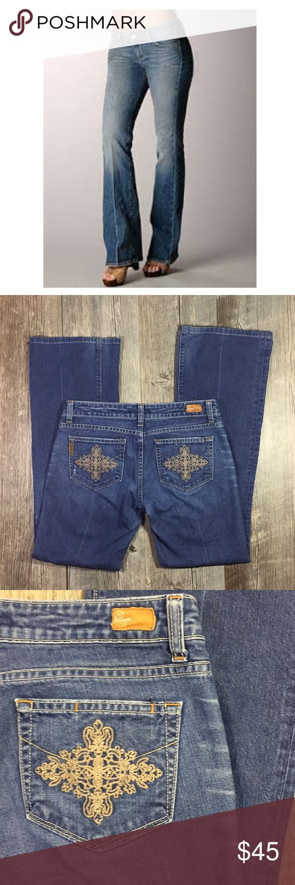 Paige premium denim laurel canyon with crease Paige premium denim laurel canyon with crease. Embroidered pockets. Bootcut. Approx 38.5 inches long. Low rise. Cotton 2% spandex. Tag reads size 28 Paige Jeans Jeans