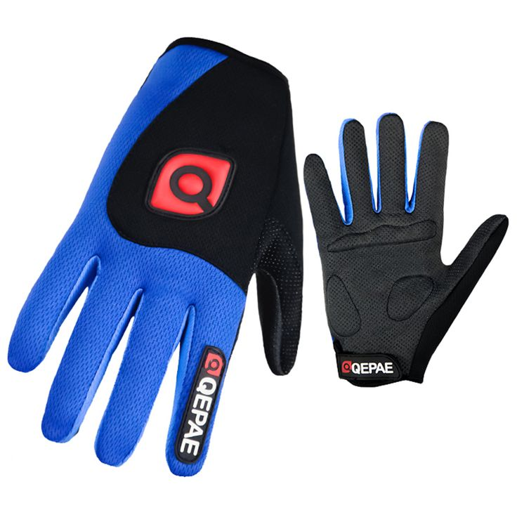 Qepae Washable Cycling Gloves Men Sports Full Finger Anti Slip Bike Gloves Shockproof Breathable Warm Black Climbing Spring Blue