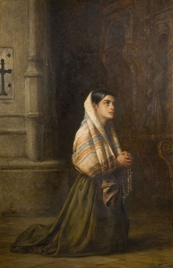 """""""With all prayer and supplication,pray at every opportunity in the Spirit. To that end,be watchful with all perseverance and supplication for all the holy ones.""""_Ephesians 6:18 // At Prayer / En Oración // Between 1845-1891 // Edwin Long // Wolverhampton Art Gallery // a young Spanish woman, kneeling in prayer in a church. Her hands are clasped and she is holding rosary beads."""