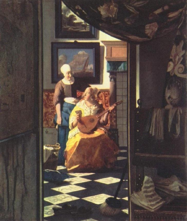 """Johannes Vermeer """"The Love Letter"""", 1666, Oil on canvas, 44 cm × 38.5 cm, in Rijksmuseum Amsterdam, Amsterdam"""
