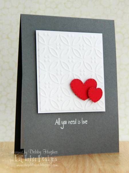 handmade card ... clean and simple ... elegant look in deep gray ... matted panel with embossing folder texture ... splash of red in two red die cut hearts ... beautiful!