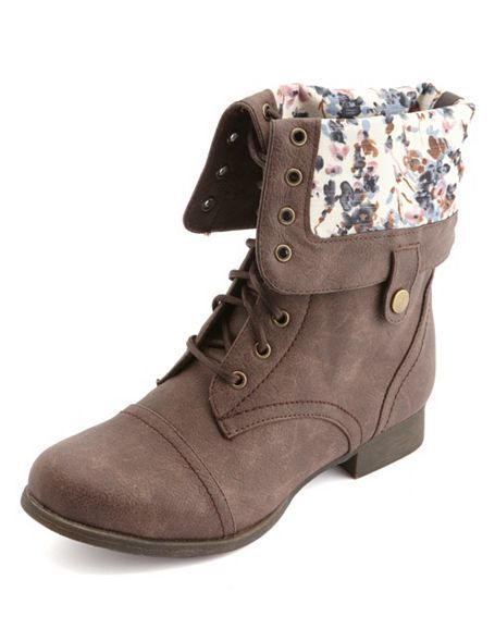 Floral-Lined Fold-Over Combat Boots: Charlotte Russe