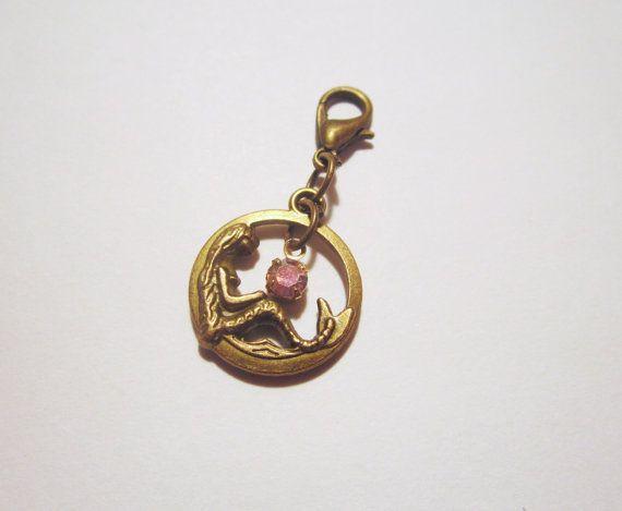 Vintage Style OOAK Mermaid Pink Crystal Charm by NewUsedVintage, $5.00