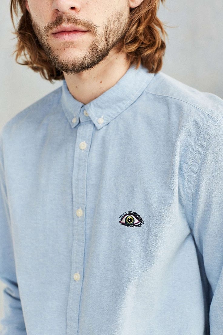 CPO Embroidered Chest Dress Shirt - Urban Outfitters