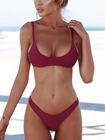 92c7319af3904 Burgundy Spaghetti Strap Bikini Top And Bottom | Body + Mod ...