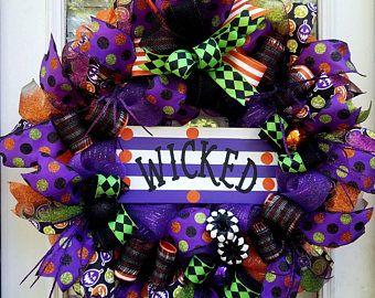 Halloween Wicked Door Wreath,Deco Mesh Halloween Wreath,Purple Halloween Decor, Front Door Wreath,Whimsical Halloween Decor, Halloween Party