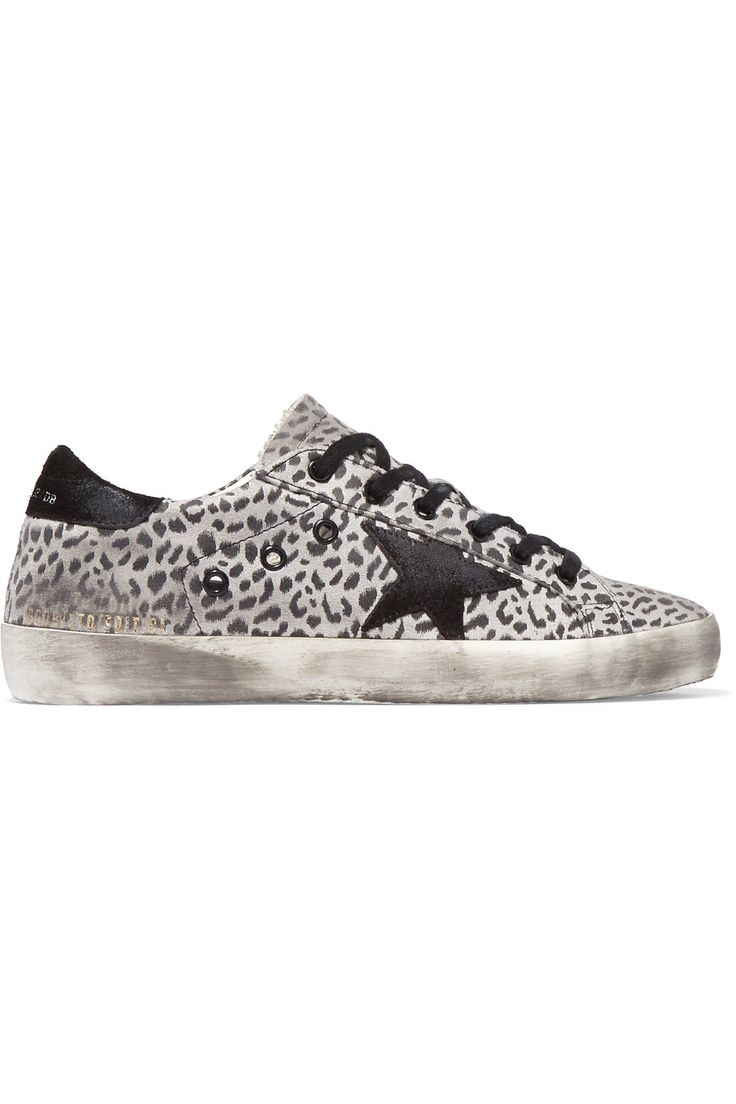 GOLDEN GOOSE Super Star Distressed Leopard-Print Leather Sneakers.  #goldengoose #shoes #