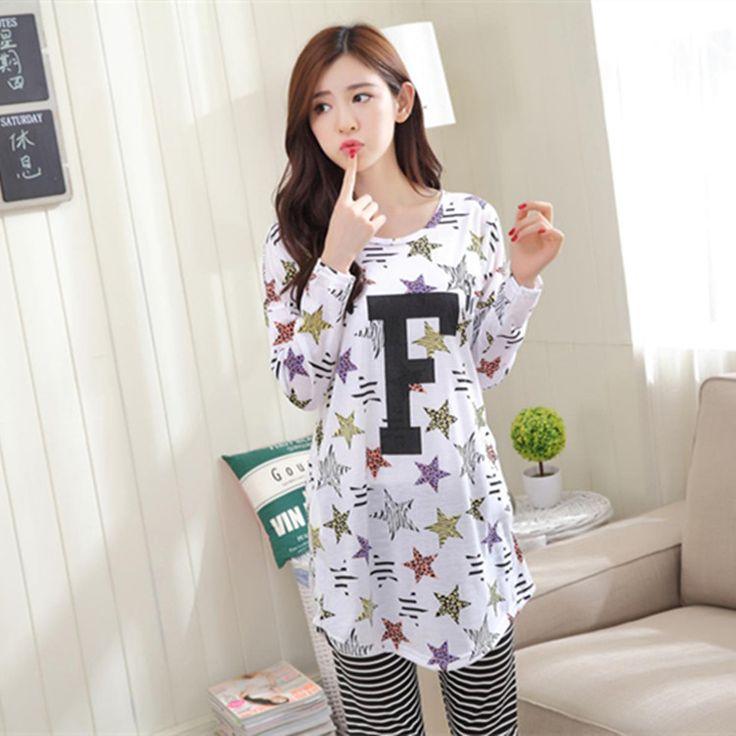 2016 new Pajamas woman long sleeve Simple pyjamas lady letter leisurewear suit leisure relaxed sleepwear for women free shipping