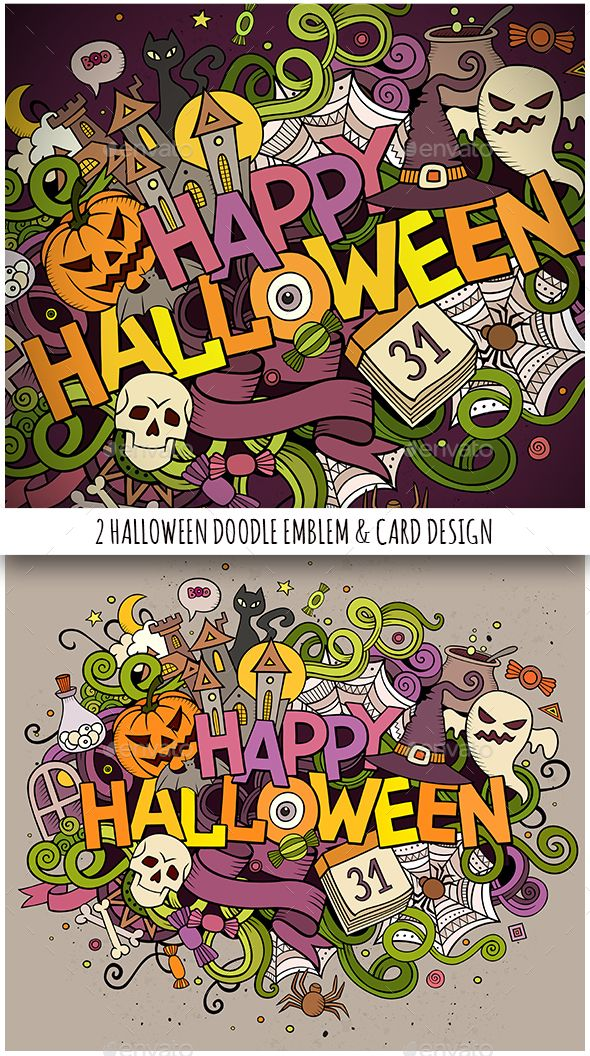 Happy Halloween Doodles Illustration & Card