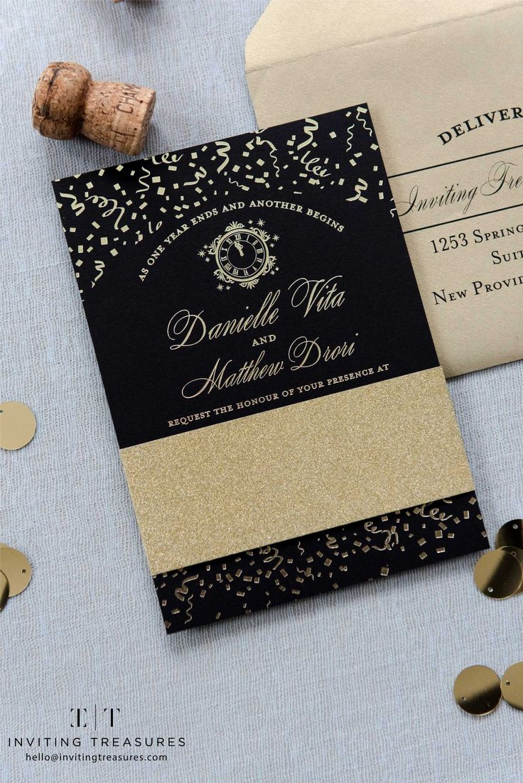 golden wedding invitations%0A Black and gold new years eve wedding invitations