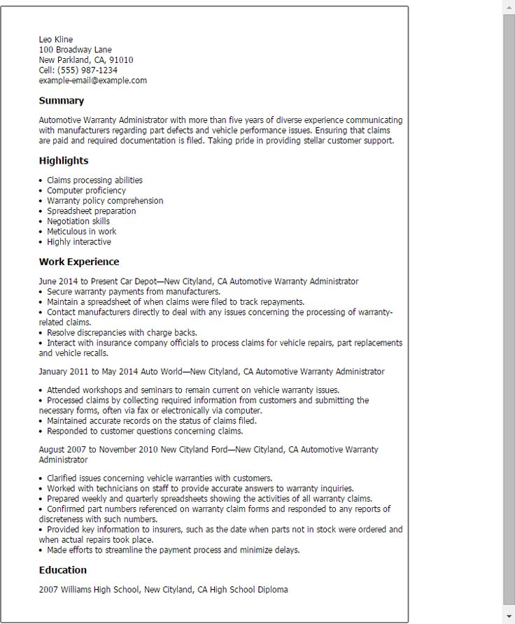 Resume Templates: Automotive Warranty Administrator