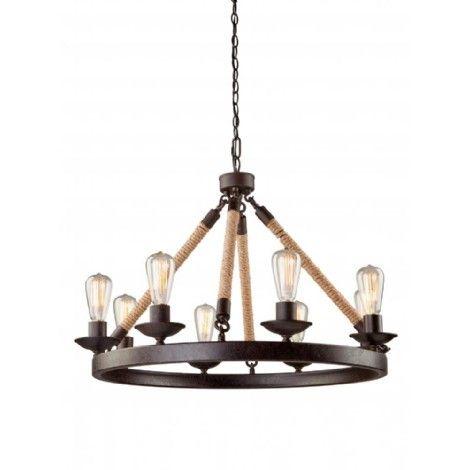 Luminaire suspendu bronze avec corde de sisal, idéal pour salle a manger, chambre, escalier et entrée.