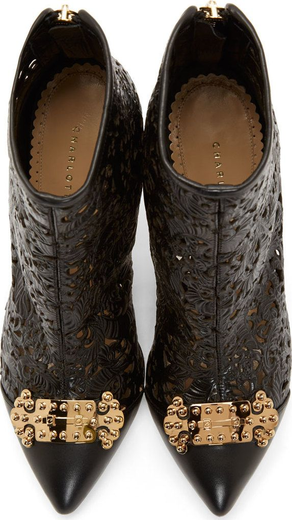 Charlotte Olympia Onyx Leather Floral Cut-Out Myrtle Ankle Boots/