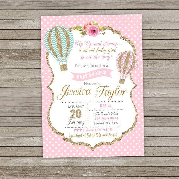 Hot Air Balloon Baby Shower Invitation Pink by RainbowSweetStudio