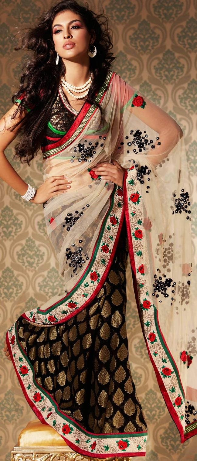 Cream and Black Net Saree With Blouse @ US $164.64 #netsaree #snapdeal #India