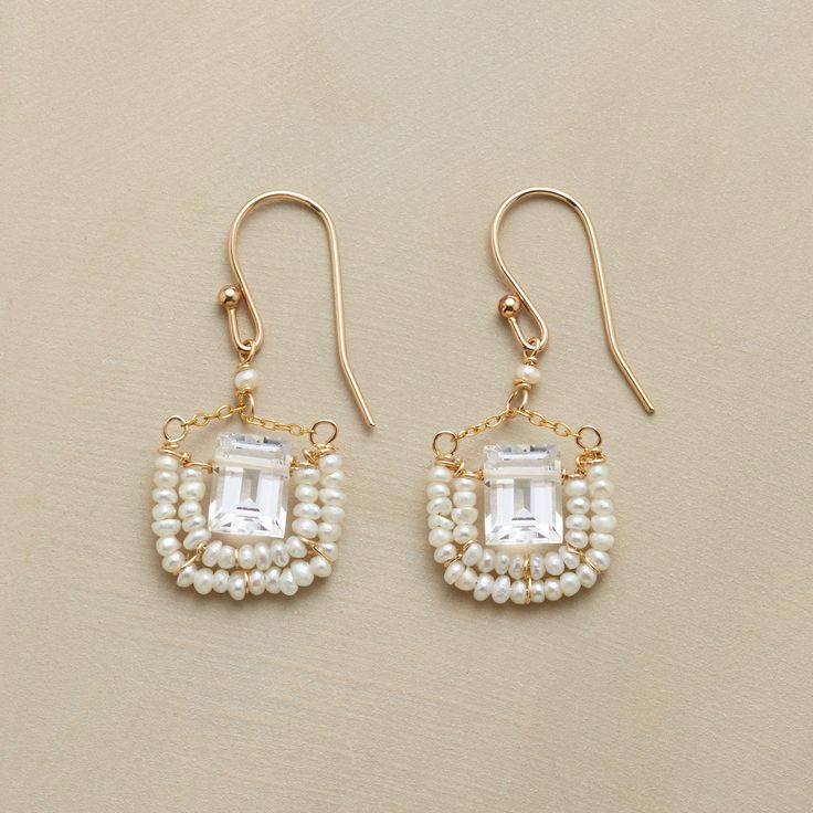 """PRINCESSE EARRINGS -- Chained to French wires, baguettes cut of crystalline quartz are rimmed with tiny cultured freshwater pearls. 14kt goldfill. Ours exclusively, handmade in USA. 1-3/8""""L."""