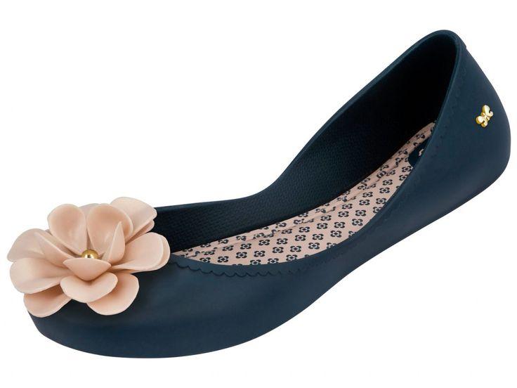 Zaxy Start Fem Navy Blue Flower Ballerina Flat Shoes