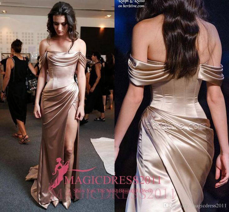 2016 Ralph Russo Champagne Prom Evening Dresses Special Occasion Dress Mermaid Off-Shoulder High Split Long Formal Celebrity Gowns Party Prom Dresses Beaded Formal Evening Gown Crystal Evening Gowns Online with 130.0/Piece on Magicdress2011's Store | DHgate.com