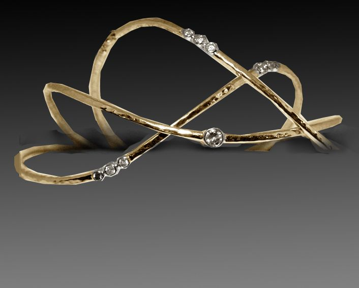 Three hammer textured wave bangles with diamonds set in