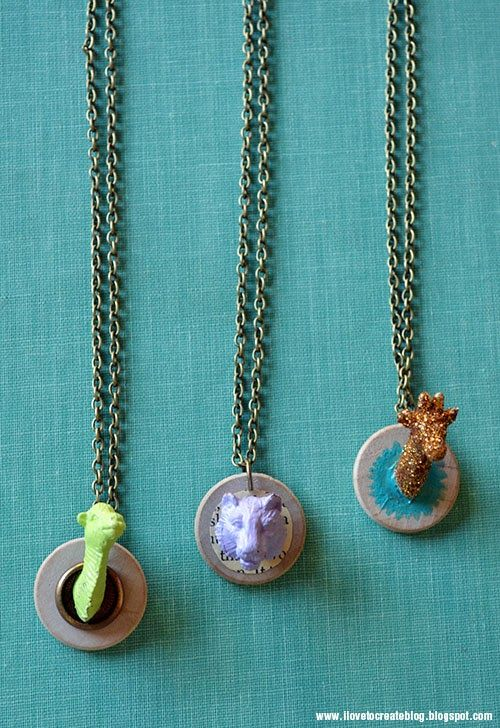 Crafts to Make with Plastic Animals - Plastic animal necklaces