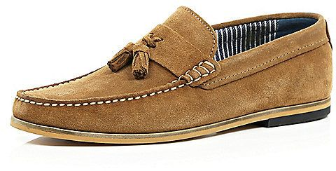$100, River Island Brown Suede Tassel Loafers. Sold by River Island. Click for more info: https://lookastic.com/men/shop_items/242739/redirect