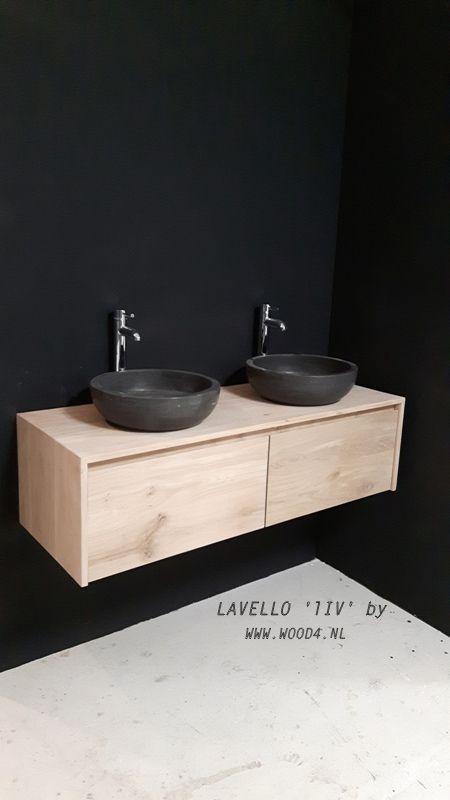 Elk eiken badkamermeubel uit onze Lavello LIV collectie is in een gewenste maatvoering en waskommen leverbaar. En de kleur...die bepaal je ook zelf.  Zo wordt het helemaal jouw badmeubel.  kijk op onze website voor meer info: www.wood4.nl  badkamer, landelijk, stijlvol, eikenhout, hout, natuursteen, waskommen, maatwerk, lavello, wood4