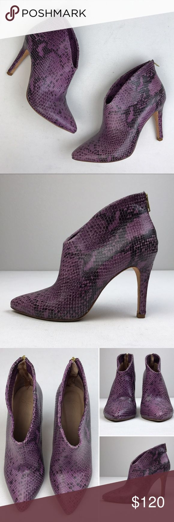 """Joie purple snake print leather booties In great condition. Only worn once. Leather upper and soles. Zipper embellished on the heel. Size 37"""". Joie Shoes Ankle Boots & Booties"""