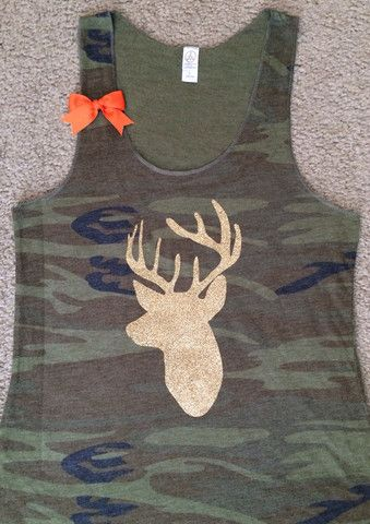 Camo - Deer Hunting Tank - Ruffles with Love - Womens Fitness