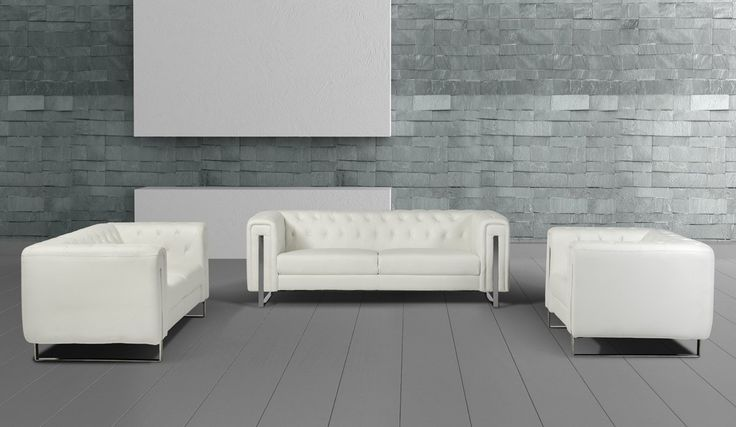 "Divani Casa Salvia Modern White Leatherette Sofa Set. Dimensions  Sofa: W85"" x D35"" x H28""Loveseat: W67"" x D35"" x H28""Chair: W44"" x D35"" x H28""Seat Depth: 22""Seat Height: 18""  Color:  White Finish:   Product ID(s):  17249"