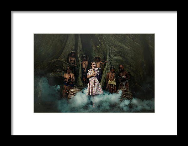 Temptation by Elena Riim.  Pretty girl in the fog, looking aside surrounded by asian guys standing under huge tree..Available as framed prints, acrylic and metal prints and canvas any suitable sizes to enrich the interior with vivid exquisite colors.#ElenaRiimFineArtPhotography, #Temptation, #HomeDecor, #WallArt, #AcrylicPrints, #MetalPrints, #GiftIdeas, #PrintsForSale, #FineArtPrint, #GiftIdeas, #PrintForSale, #FineArtPhotography