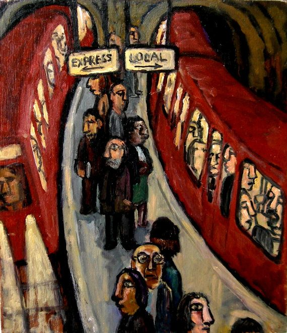 Express / Local. Small Subway Oil Painting Modern by MetroStudio