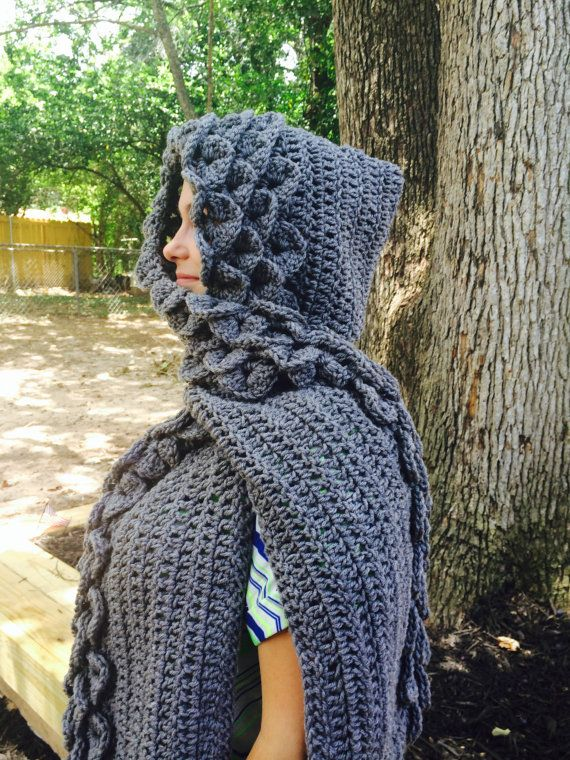 Free Knitting Pattern For Alligator Scarf : Pattern Only, Crocheted Crocodile/ Dragon Stich Hooded Scarf Crocodile, Dra...