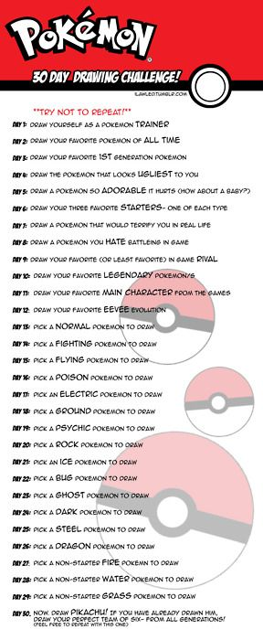 Pokemon Drawing Challenge!! Shall try and work on this during my break from Facebook and DevaintArt. :3