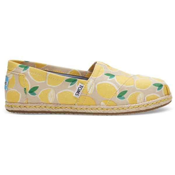 TOMS Yellow Lemons Women's Espadrilles Shoes ($59) ❤ liked on Polyvore featuring shoes, yellow lemons, toms footwear, elastic shoes, espadrille shoes, lemon shoes and toms shoes