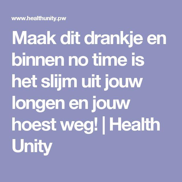 Maak dit drankje en binnen no time is het slijm uit jouw longen en jouw hoest weg!   Health Unity