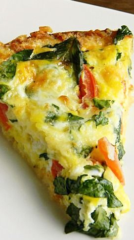 Would love to try this with either a polenta or quinoa crust! Caprese Florentine Quiche